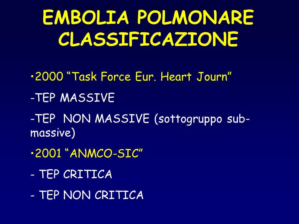 EMBOLIA POLMONARE CLASSIFICAZIONE 2000 Task Force Eur. Heart Journ -TEP MASSIVE -TEP NON MASSIVE (sottogruppo sub- massive) 2001 ANMCO-SIC - TEP CRITI