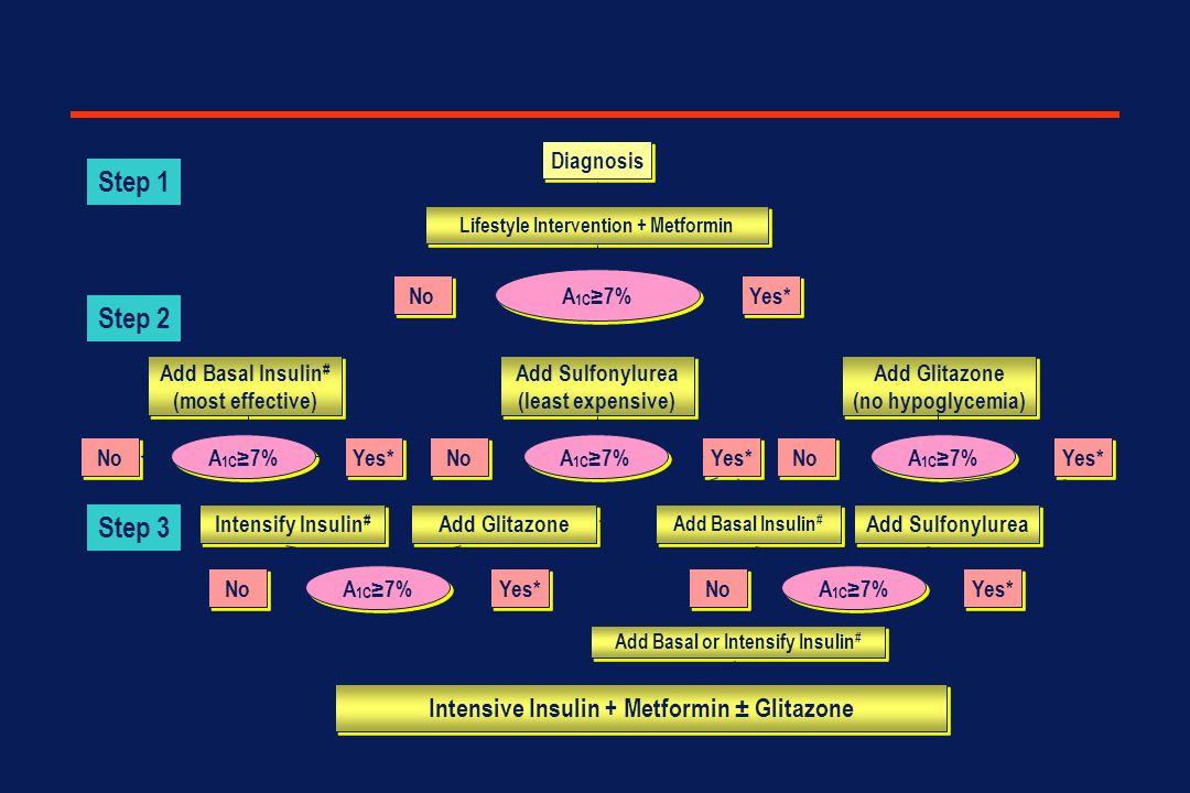 Nathan DM et al, Diabetes Care, 2006; Diabetologia 2006 Diagnosis Lifestyle Intervention + Metformin No Yes* A 1C 7% Add Basal Insulin # (most effecti