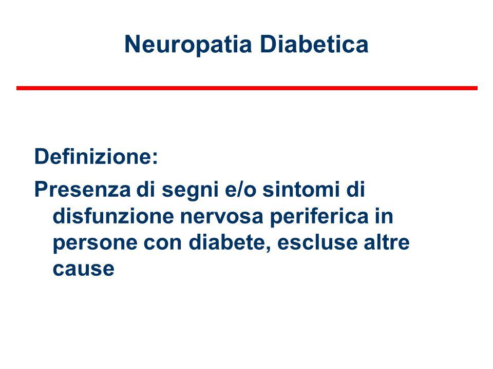 Neuropatia Diabetica Definizione: Presenza di segni e/o sintomi di disfunzione nervosa periferica in persone con diabete, escluse altre cause