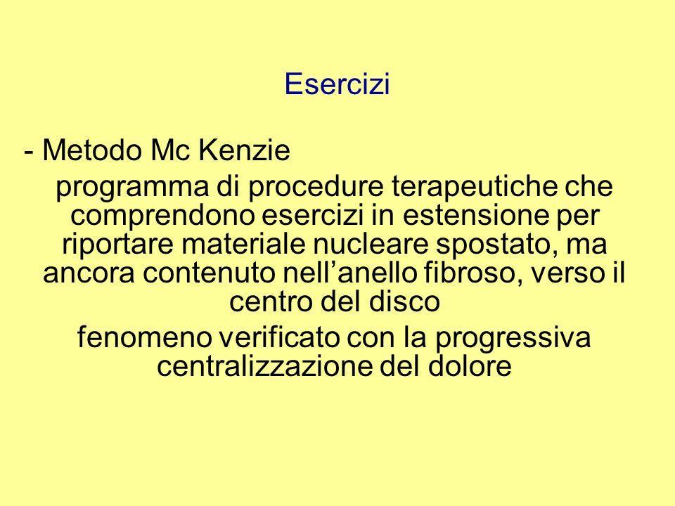 Esercizi - Metodo Mc Kenzie programma di procedure terapeutiche che comprendono esercizi in estensione per riportare materiale nucleare spostato, ma a