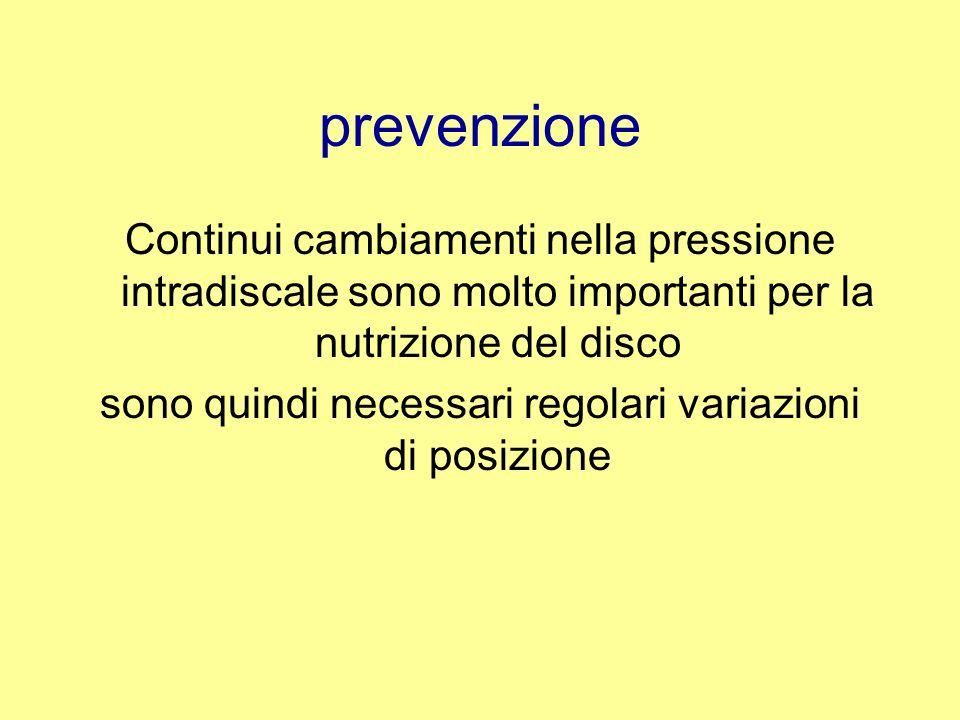 prevenzione Per proteggere il disco da una degenerazione precoce è importante mantenere la pressione intradiscale più bassa possibile durante le attività giornaliere, ciò può essere raggiunto adottando una leggera lordosi