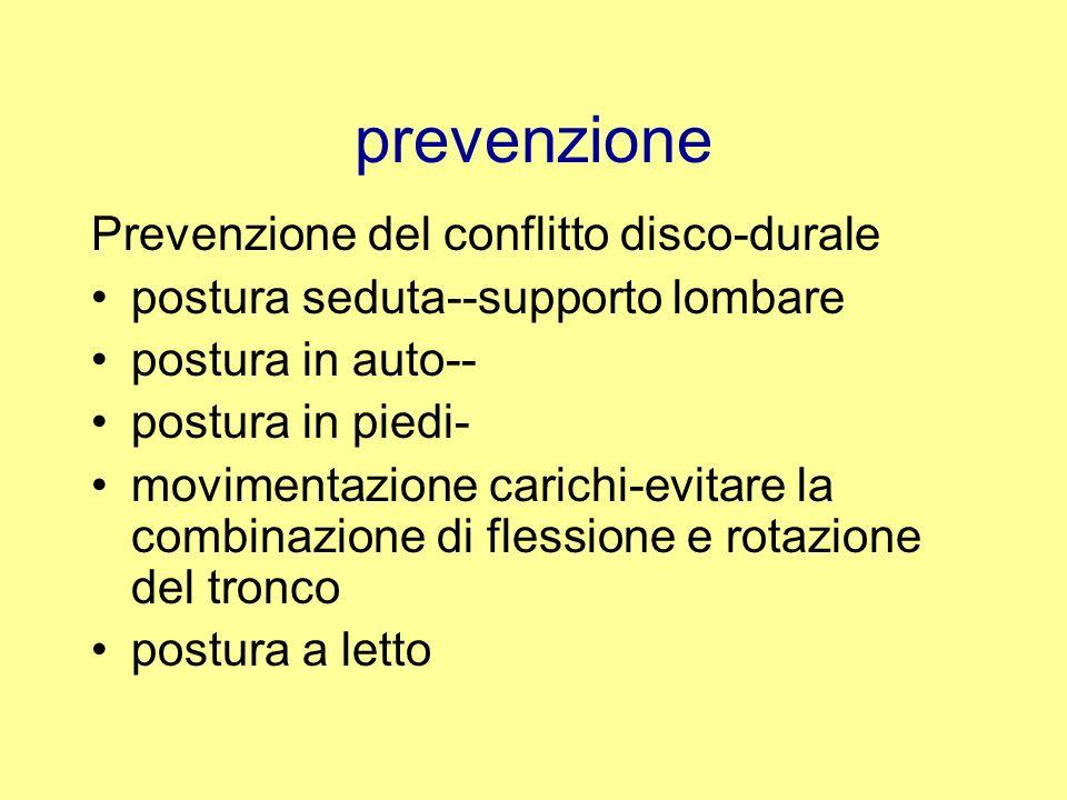 prevenzione Prevenzione del conflitto disco-durale postura seduta--supporto lombare postura in auto-- postura in piedi- movimentazione carichi-evitare