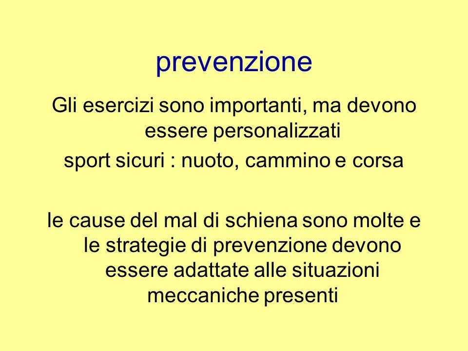 prevenzione Gli esercizi sono importanti, ma devono essere personalizzati sport sicuri : nuoto, cammino e corsa le cause del mal di schiena sono molte