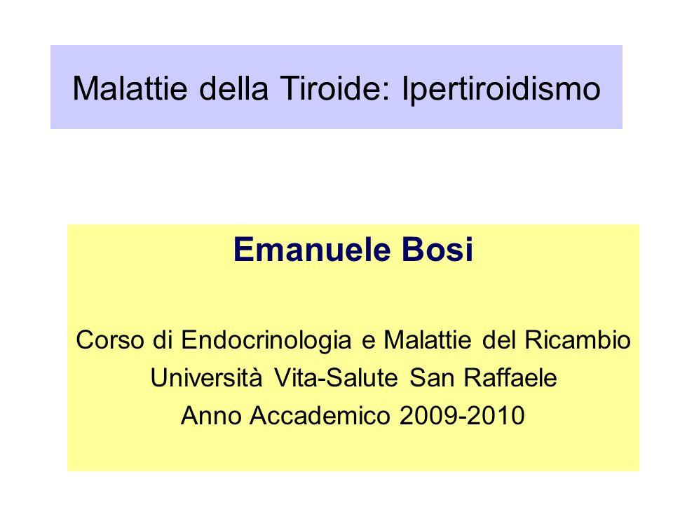 Malattie della Tiroide: Ipertiroidismo Emanuele Bosi Corso di Endocrinologia e Malattie del Ricambio Università Vita-Salute San Raffaele Anno Accademi