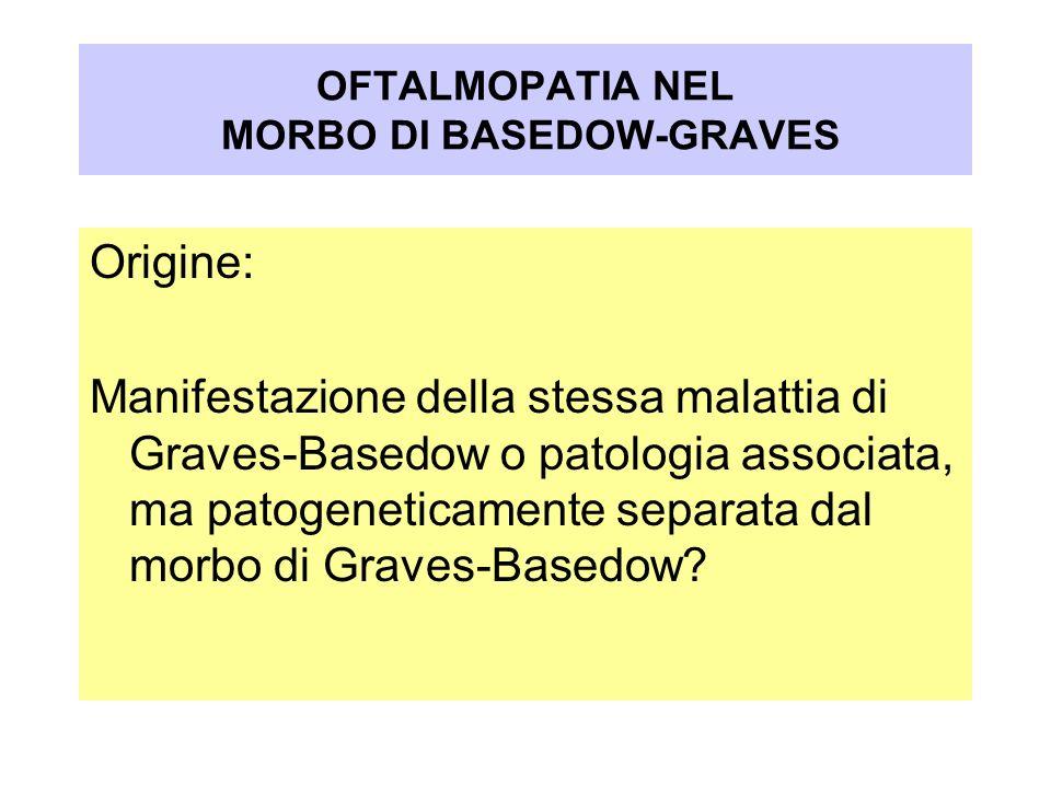 OFTALMOPATIA NEL MORBO DI BASEDOW-GRAVES Origine: Manifestazione della stessa malattia di Graves-Basedow o patologia associata, ma patogeneticamente s