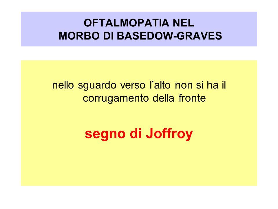 OFTALMOPATIA NEL MORBO DI BASEDOW-GRAVES nello sguardo verso lalto non si ha il corrugamento della fronte segno di Joffroy