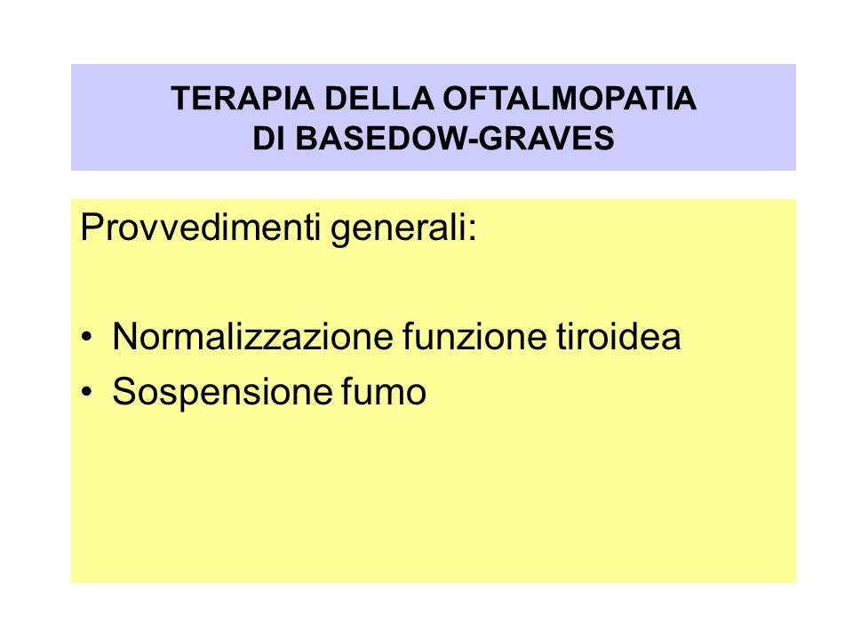 Oftalmopatia nel Morbo di Graves-Basedow Provvedimenti generali: Normalizzazione funzione tiroidea Sospensione fumo TERAPIA DELLA OFTALMOPATIA DI BASE