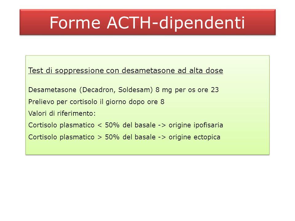 Forme ACTH-dipendenti CRH test CRH 100 g ev Prelievi per cortisolo e ACTH ai tempi 0, 15, 30, 45, 60 Valori di riferimento: Cortisolo > 20% e ACTH > 30-50% del basale -> origine ipofisaria Cortisolo origine ectopica CRH test CRH 100 g ev Prelievi per cortisolo e ACTH ai tempi 0, 15, 30, 45, 60 Valori di riferimento: Cortisolo > 20% e ACTH > 30-50% del basale -> origine ipofisaria Cortisolo origine ectopica DDAVP test (Minirin 10 g ev)