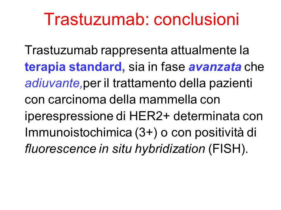 Trastuzumab: conclusioni Trastuzumab rappresenta attualmente la terapia standard, sia in fase avanzata che adiuvante,per il trattamento della pazienti