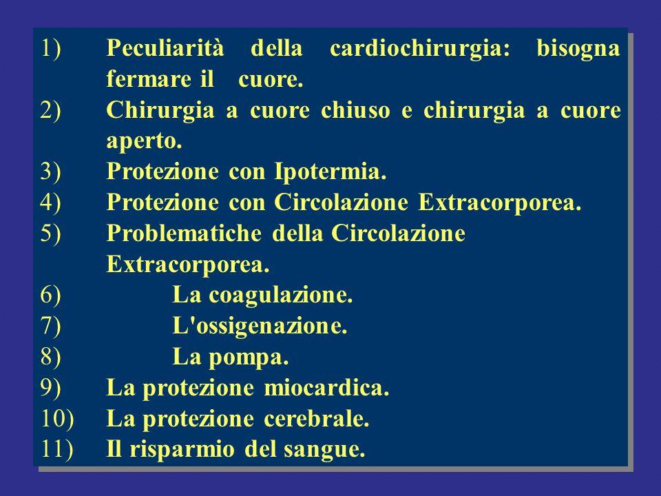 1)Peculiarità della cardiochirurgia: bisogna fermare il cuore. 2)Chirurgia a cuore chiuso e chirurgia a cuore aperto. 3)Protezione con Ipotermia. 4)Pr