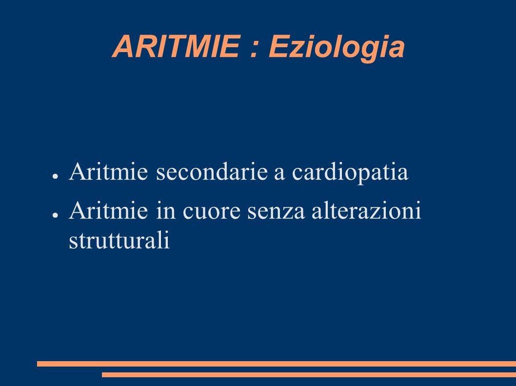 ARITMIE : Eziologia Aritmie secondarie a cardiopatia Aritmie in cuore senza alterazioni strutturali