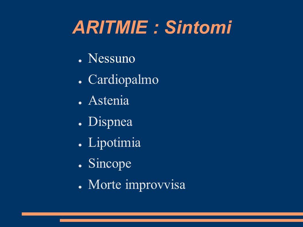 ARITMIE : Sintomi Nessuno Cardiopalmo Astenia Dispnea Lipotimia Sincope Morte improvvisa