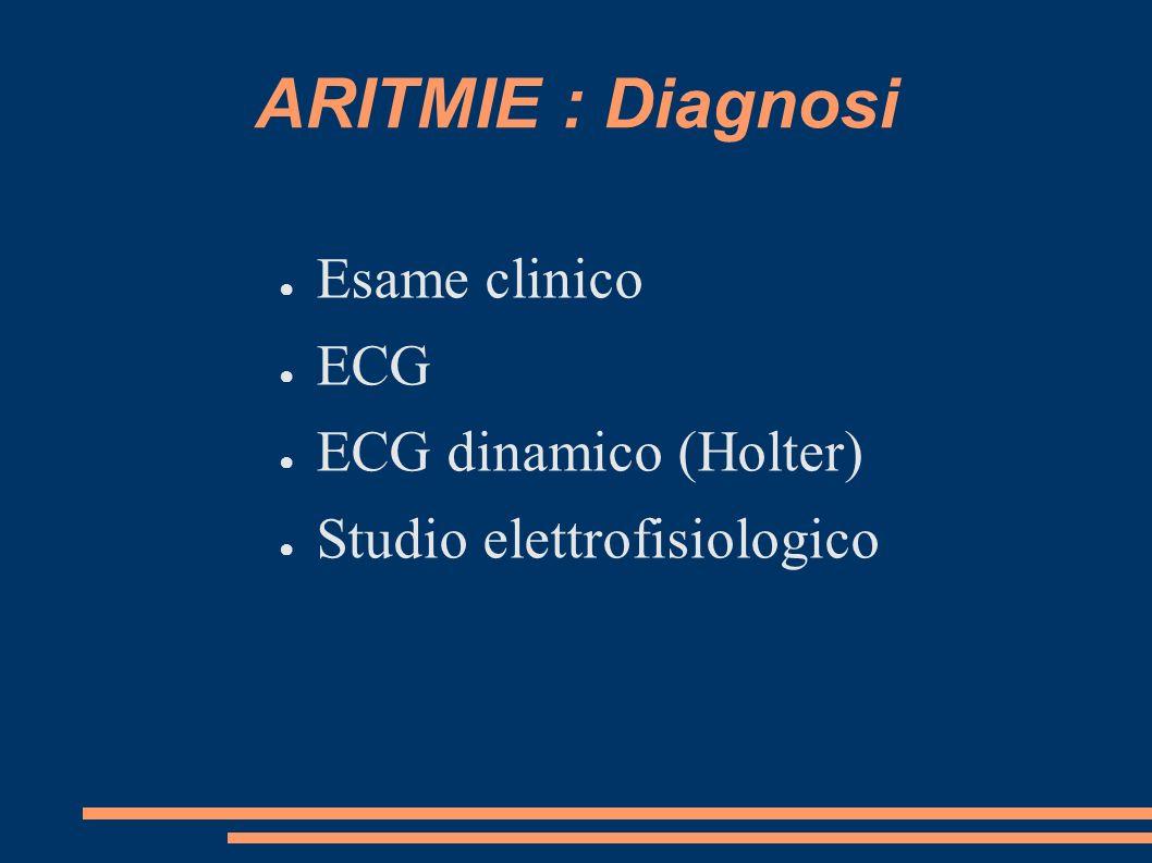 ARITMIE : Diagnosi Esame clinico ECG ECG dinamico (Holter) Studio elettrofisiologico