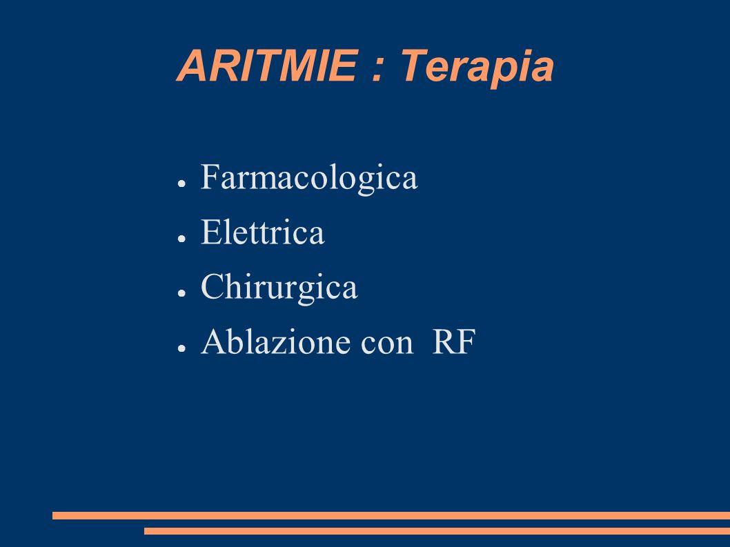 ARITMIE : Terapia Farmacologica Elettrica Chirurgica Ablazione con RF
