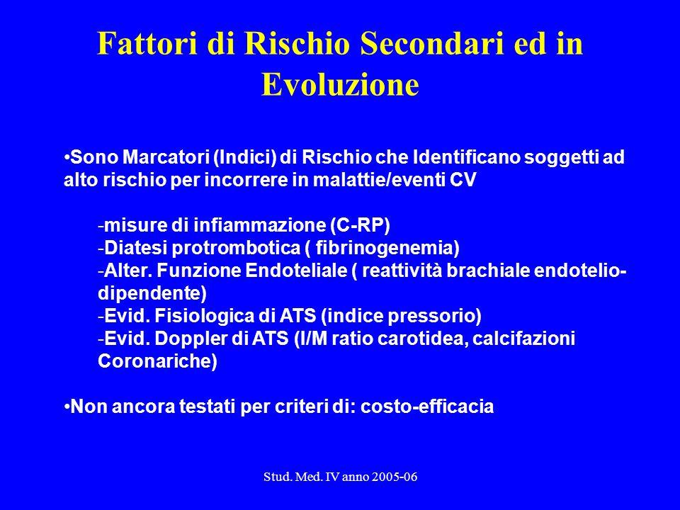 Stud. Med. IV anno 2005-06 Fattori di Rischio Secondari ed in Evoluzione Sono Marcatori (Indici) di Rischio che Identificano soggetti ad alto rischio