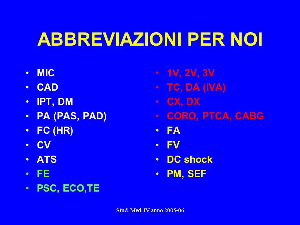 Stud. Med. IV anno 2005-06 ABBREVIAZIONI PER NOI MIC CAD IPT, DM PA (PAS, PAD) FC (HR) CV ATS FE PSC, ECO,TE 1V, 2V, 3V TC, DA (IVA) CX, DX CORO, PTCA