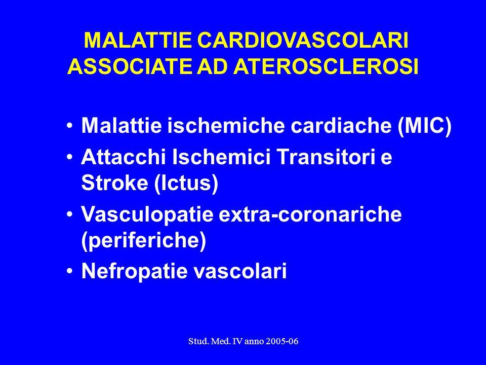 Stud. Med. IV anno 2005-06 MALATTIE CARDIOVASCOLARI ASSOCIATE AD ATEROSCLEROSI Malattie ischemiche cardiache (MIC) Attacchi Ischemici Transitori e Str