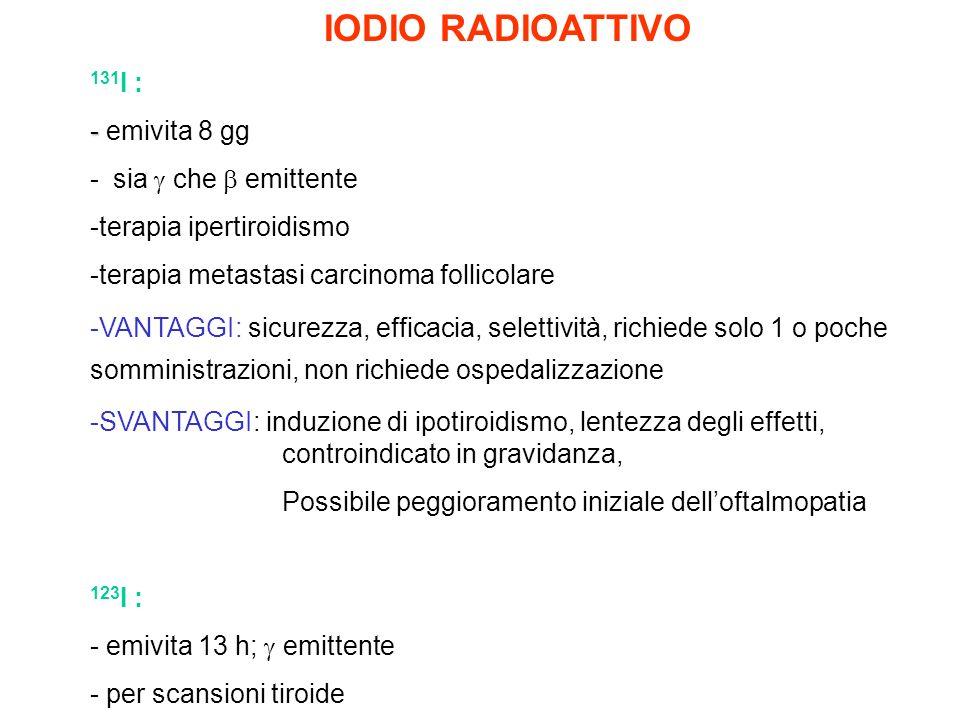IODIO RADIOATTIVO 131 I : - - emivita 8 gg - sia che emittente -terapia ipertiroidismo -terapia metastasi carcinoma follicolare -VANTAGGI: sicurezza,