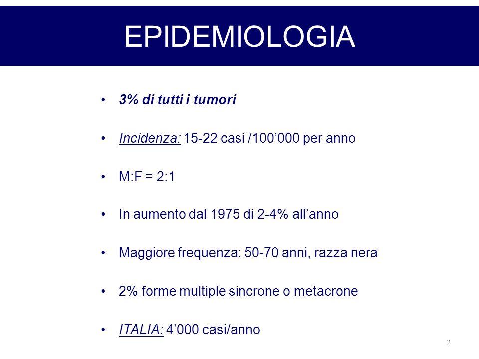 2 EPIDEMIOLOGIA 3% di tutti i tumori Incidenza: 15-22 casi /100000 per anno M:F = 2:1 In aumento dal 1975 di 2-4% allanno Maggiore frequenza: 50-70 an