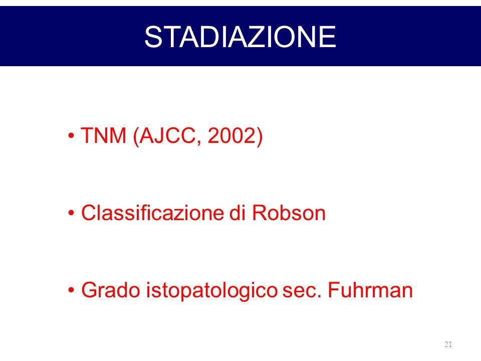 21 STADIAZIONE TNM (AJCC, 2002) Classificazione di Robson Grado istopatologico sec. Fuhrman