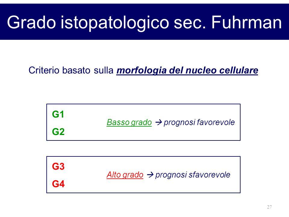 27 Grado istopatologico sec. Fuhrman Criterio basato sulla morfologia del nucleo cellulare G1 G2 G3 G4 Basso grado prognosi favorevole Alto grado prog