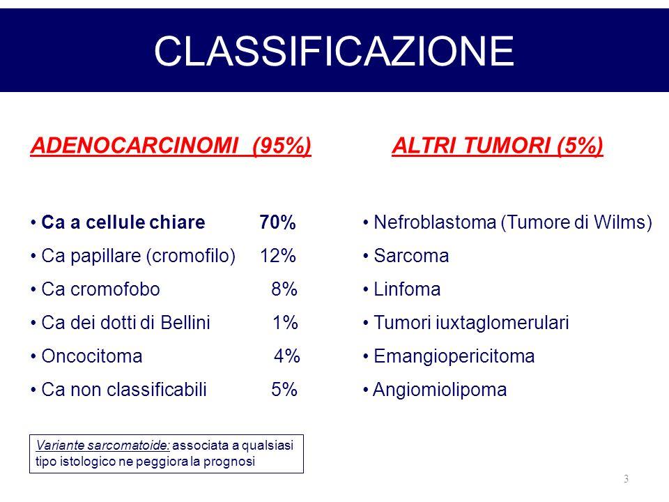 3 CLASSIFICAZIONE ADENOCARCINOMI (95%)ALTRI TUMORI (5%) Ca a cellule chiare 70% Ca papillare (cromofilo) 12% Ca cromofobo 8% Ca dei dotti di Bellini 1