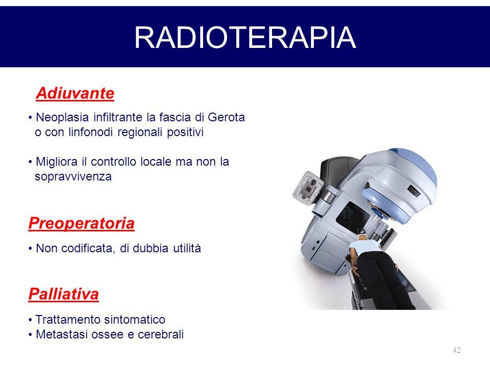 42 RADIOTERAPIA Adiuvante Neoplasia infiltrante la fascia di Gerota o con linfonodi regionali positivi Migliora il controllo locale ma non la sopravvi