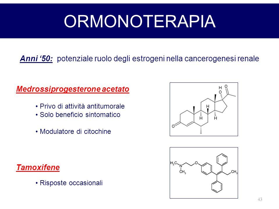 43 ORMONOTERAPIA Anni 50: potenziale ruolo degli estrogeni nella cancerogenesi renale Medrossiprogesterone acetato Tamoxifene Privo di attività antitu