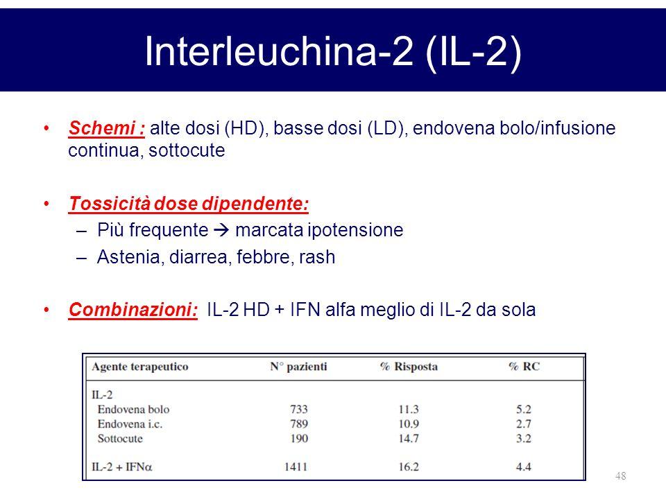 48 Interleuchina-2 (IL-2) Schemi : alte dosi (HD), basse dosi (LD), endovena bolo/infusione continua, sottocute Tossicità dose dipendente: –Più freque