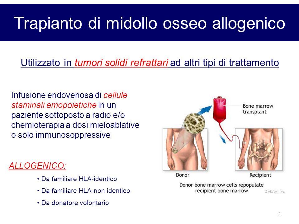 51 Trapianto di midollo osseo allogenico Infusione endovenosa di cellule staminali emopoietiche in un paziente sottoposto a radio e/o chemioterapia a