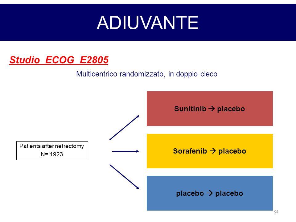 84 ADIUVANTE Studio ECOG E2805 Patients after nefrectomy N= 1923 Sunitinib placebo Sorafenib placebo placebo Multicentrico randomizzato, in doppio cie