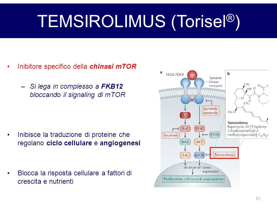 85 Inibitore specifico della chinasi mTOR –Si lega in complesso a FKB12 bloccando il signaling di mTOR Inibisce la traduzione di proteine che regolano