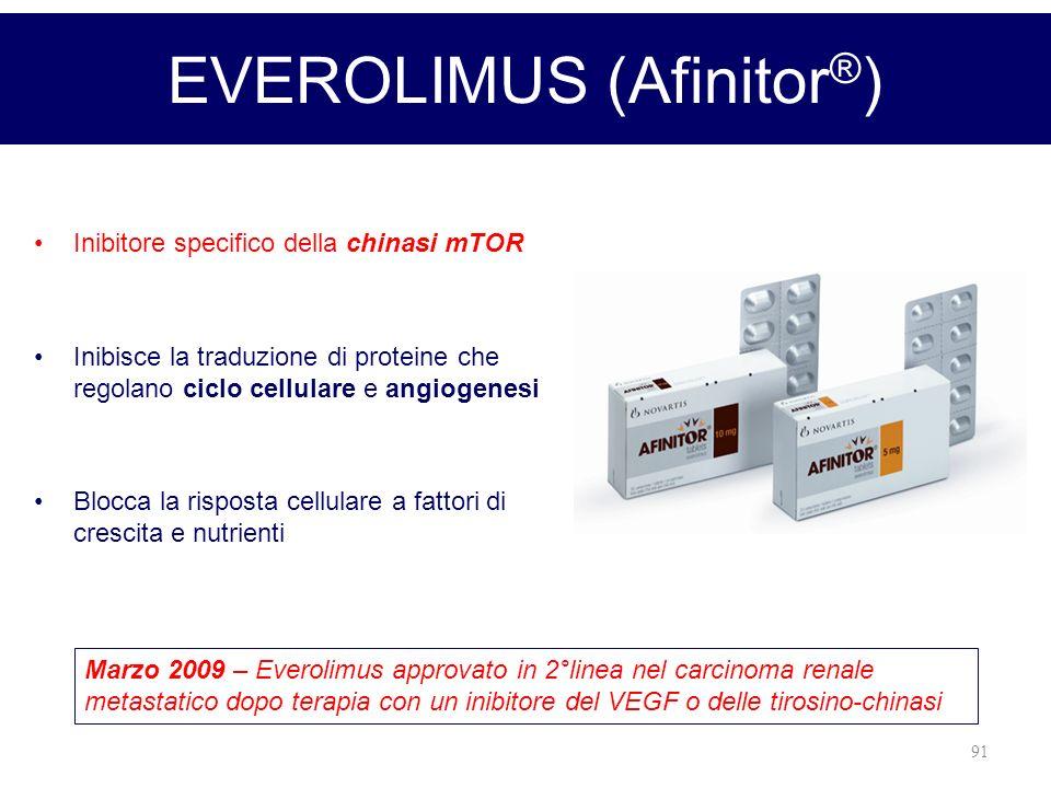 91 EVEROLIMUS (Afinitor ® ) Inibitore specifico della chinasi mTOR Inibisce la traduzione di proteine che regolano ciclo cellulare e angiogenesi Blocc