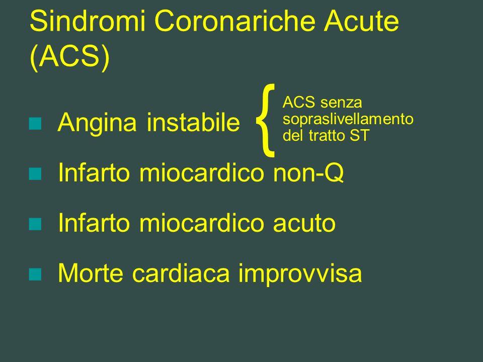 Sindromi Coronariche Acute (ACS) Angina instabile Infarto miocardico non-Q Infarto miocardico acuto Morte cardiaca improvvisa { ACS senza sopraslivell