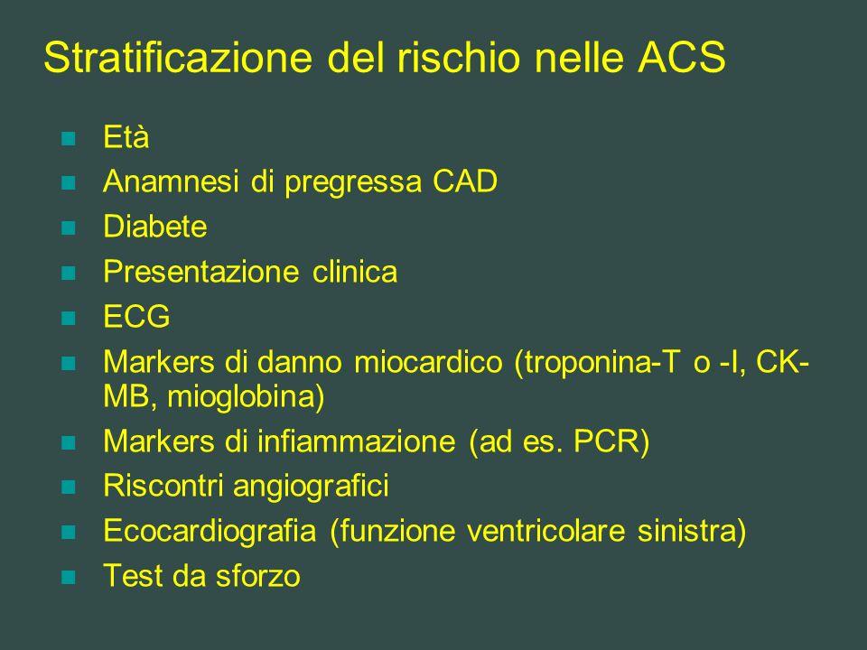 Stratificazione del rischio nelle ACS Età Anamnesi di pregressa CAD Diabete Presentazione clinica ECG Markers di danno miocardico (troponina-T o -I, C