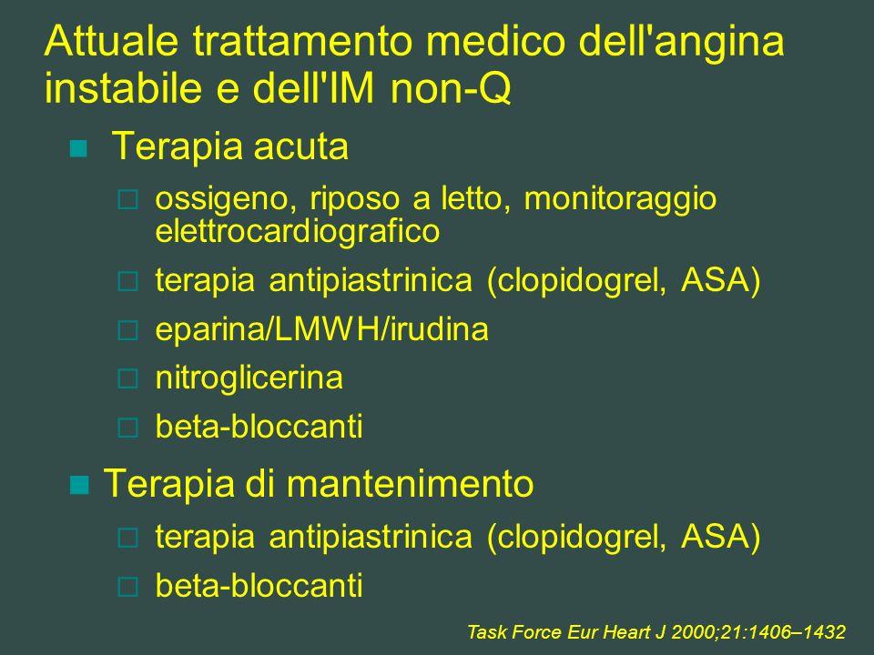 Attuale trattamento medico dell'angina instabile e dell'IM non-Q Terapia acuta ossigeno, riposo a letto, monitoraggio elettrocardiografico terapia ant