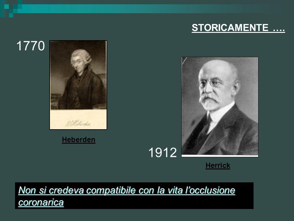 STORICAMENTE …. 1770 1912 Non si credeva compatibile con la vita locclusione coronarica Heberden Herrick