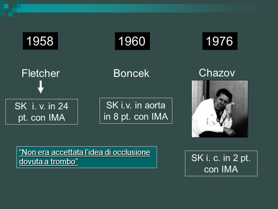 1958 1976 Fletcher SK i. v. in 24 pt. con IMA 1960 Boncek SK i.v. in aorta in 8 pt. con IMA Chazov SK i. c. in 2 pt. con IMA Non era accettata lidea d