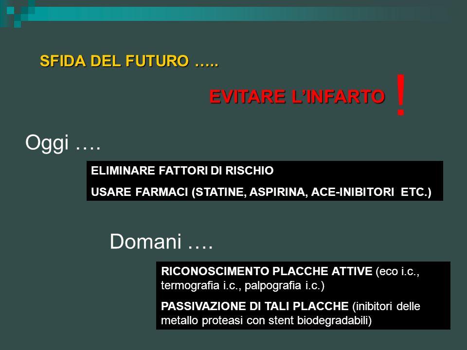 SFIDA DEL FUTURO ….. EVITARE LINFARTO ! ELIMINARE FATTORI DI RISCHIO USARE FARMACI (STATINE, ASPIRINA, ACE-INIBITORI ETC.) RICONOSCIMENTO PLACCHE ATTI