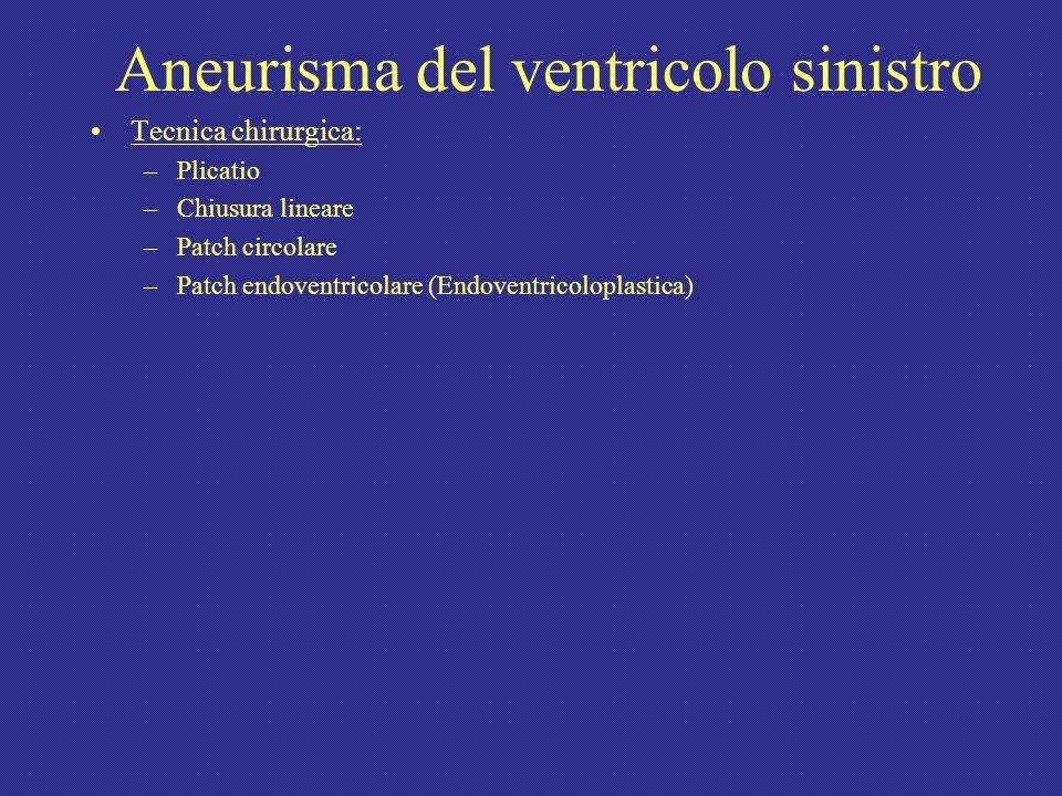 Aneurisma del ventricolo sinistro Tecnica chirurgica: –Plicatio –Chiusura lineare –Patch circolare –Patch endoventricolare (Endoventricoloplastica)