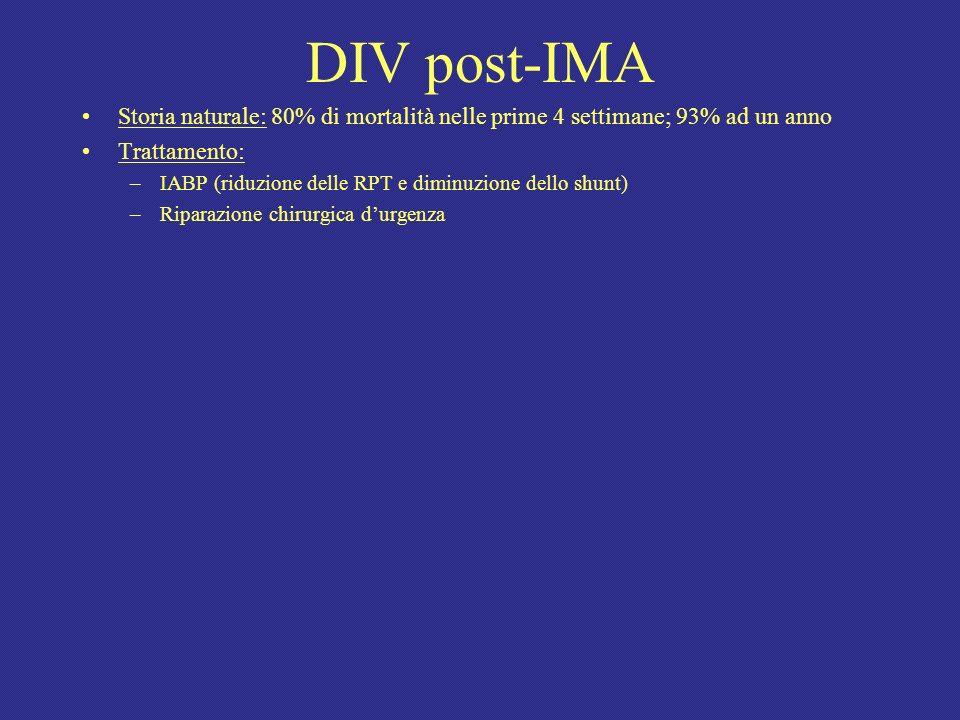 DIV post-IMA Storia naturale: 80% di mortalità nelle prime 4 settimane; 93% ad un anno Trattamento: –IABP (riduzione delle RPT e diminuzione dello shu