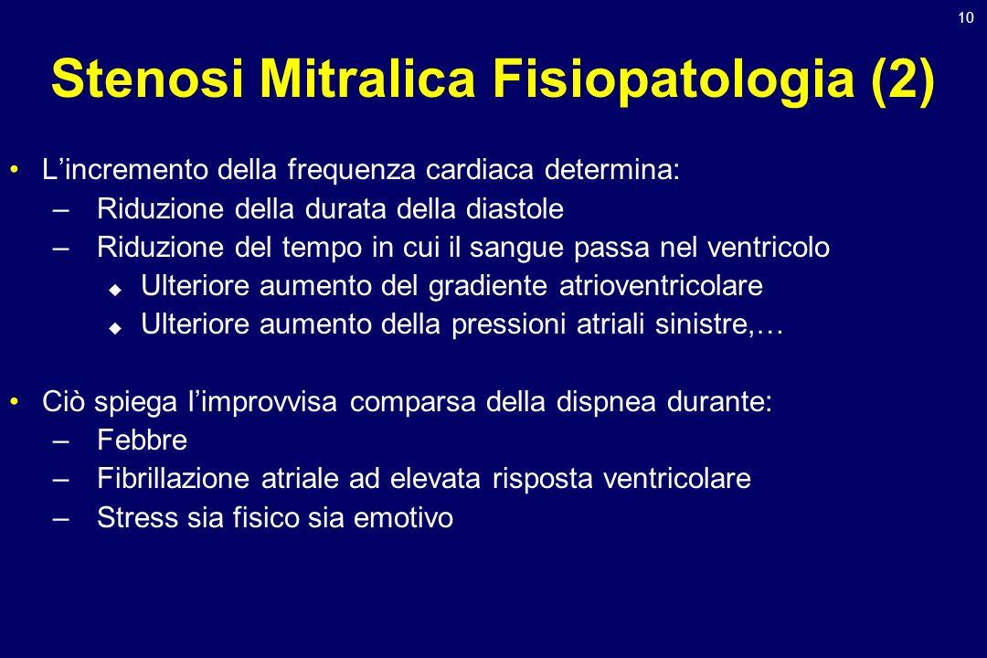 10 Stenosi Mitralica Fisiopatologia (2) Lincremento della frequenza cardiaca determina: –Riduzione della durata della diastole –Riduzione del tempo in