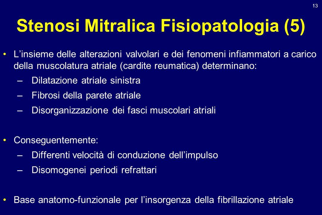 13 Stenosi Mitralica Fisiopatologia (5) Linsieme delle alterazioni valvolari e dei fenomeni infiammatori a carico della muscolatura atriale (cardite r