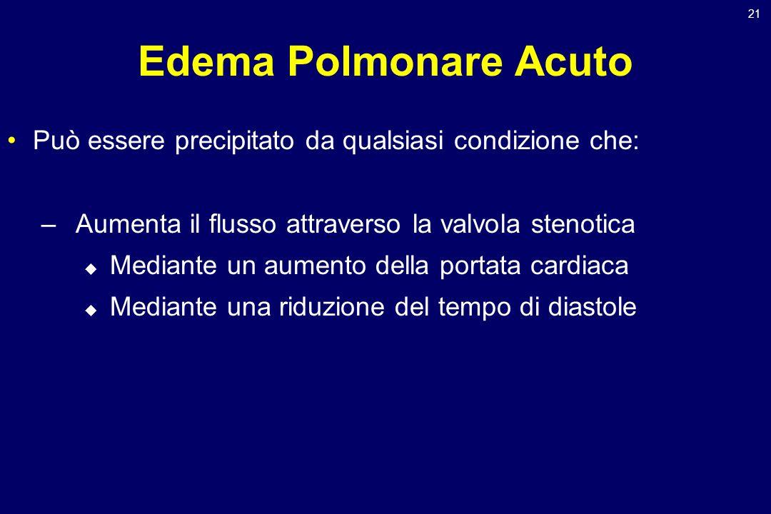 21 Edema Polmonare Acuto Può essere precipitato da qualsiasi condizione che: –Aumenta il flusso attraverso la valvola stenotica Mediante un aumento de