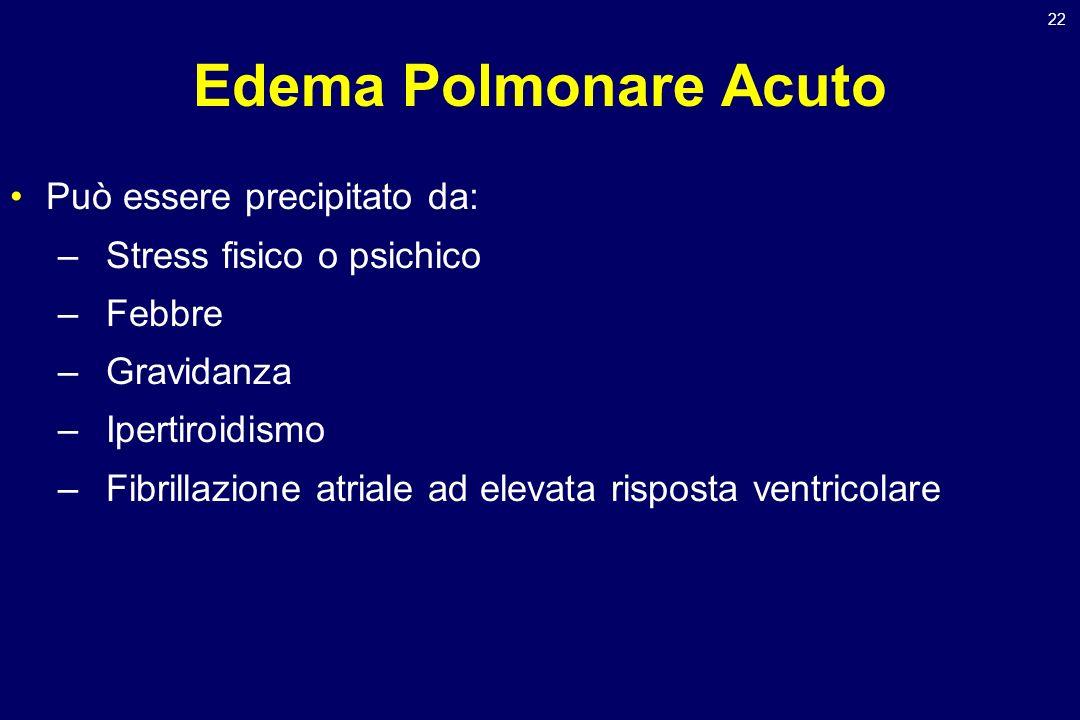 22 Edema Polmonare Acuto Può essere precipitato da: –Stress fisico o psichico –Febbre –Gravidanza –Ipertiroidismo –Fibrillazione atriale ad elevata ri
