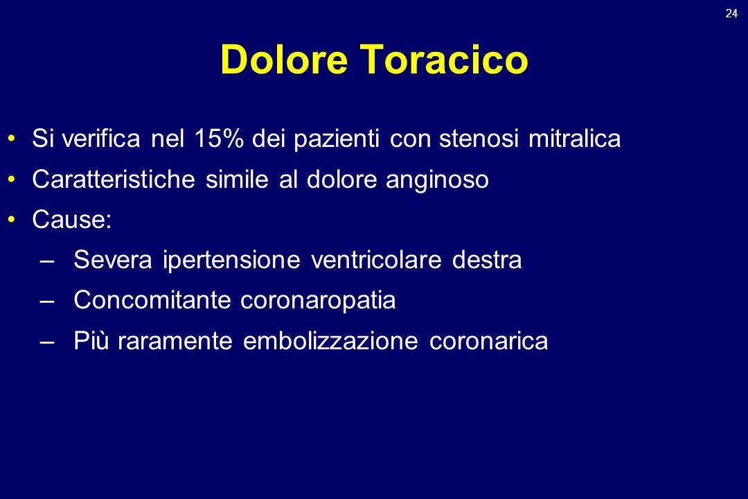 24 Dolore Toracico Si verifica nel 15% dei pazienti con stenosi mitralica Caratteristiche simile al dolore anginoso Cause: –Severa ipertensione ventri