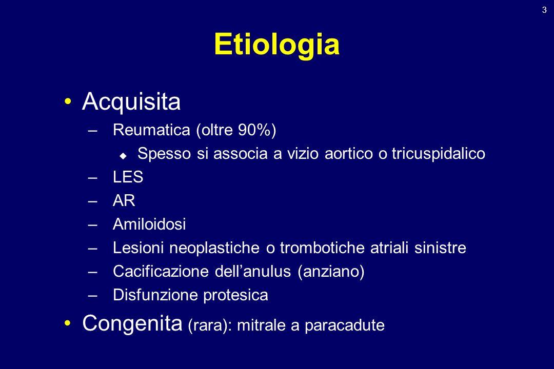 3 Etiologia Acquisita –Reumatica (oltre 90%) Spesso si associa a vizio aortico o tricuspidalico –LES –AR –Amiloidosi –Lesioni neoplastiche o trombotic
