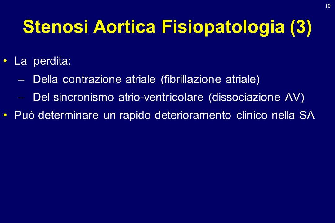 10 Stenosi Aortica Fisiopatologia (3) La perdita: –Della contrazione atriale (fibrillazione atriale) –Del sincronismo atrio-ventricolare (dissociazion