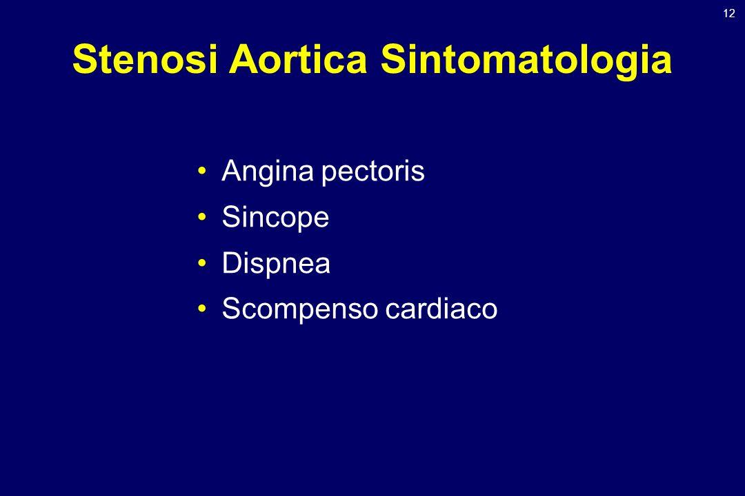 12 Stenosi Aortica Sintomatologia Angina pectoris Sincope Dispnea Scompenso cardiaco