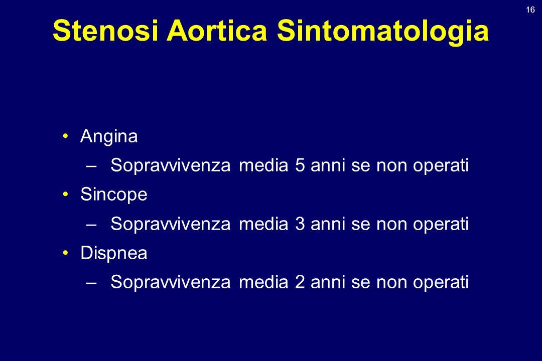 16 Stenosi Aortica Sintomatologia Angina –Sopravvivenza media 5 anni se non operati Sincope –Sopravvivenza media 3 anni se non operati Dispnea –Soprav
